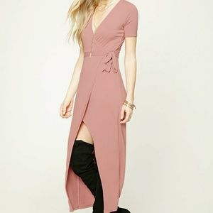 Forever 21 Burgundy Wrap Dress Red V-neck High-Low